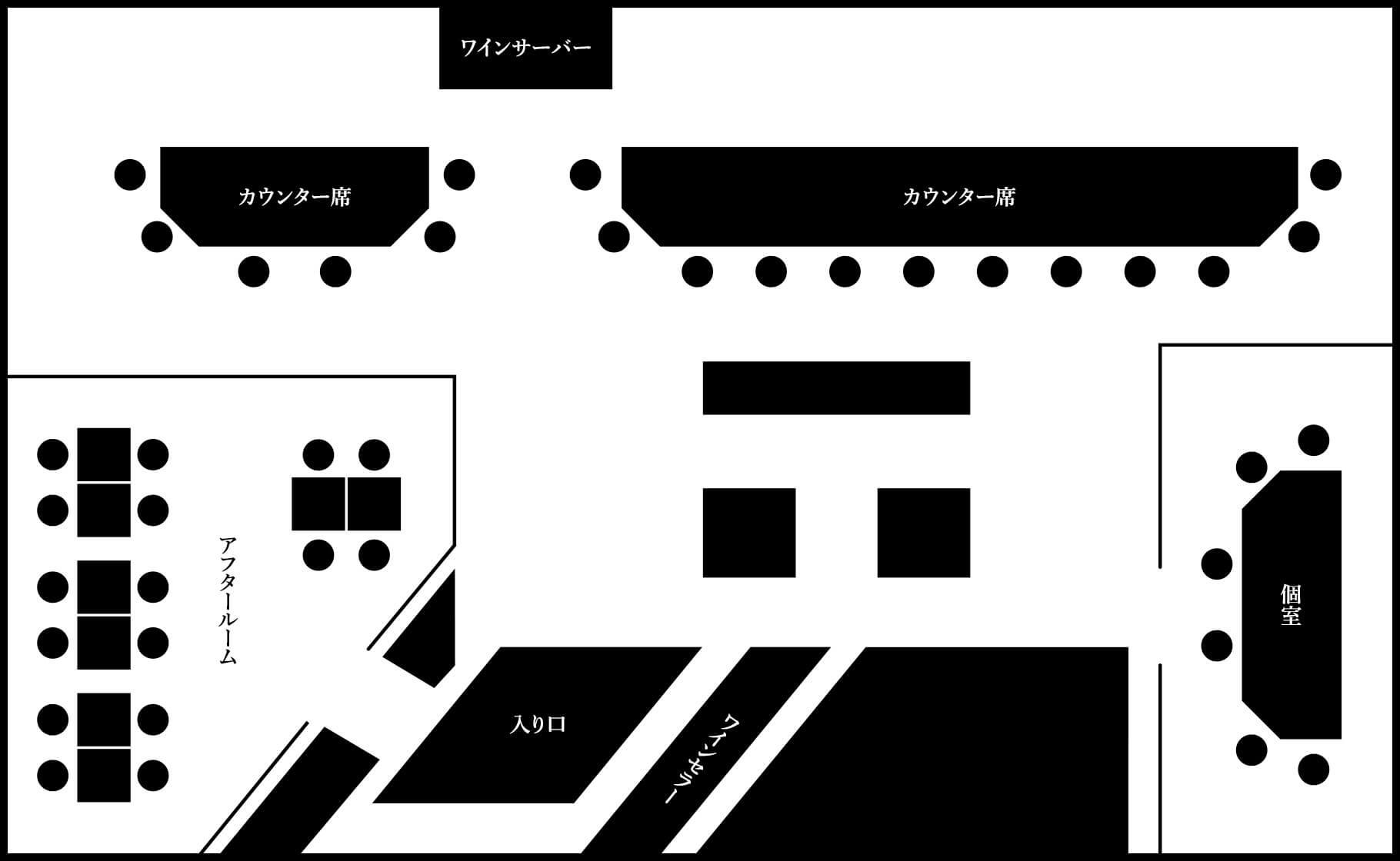 鉄板焼 RURIの店内図